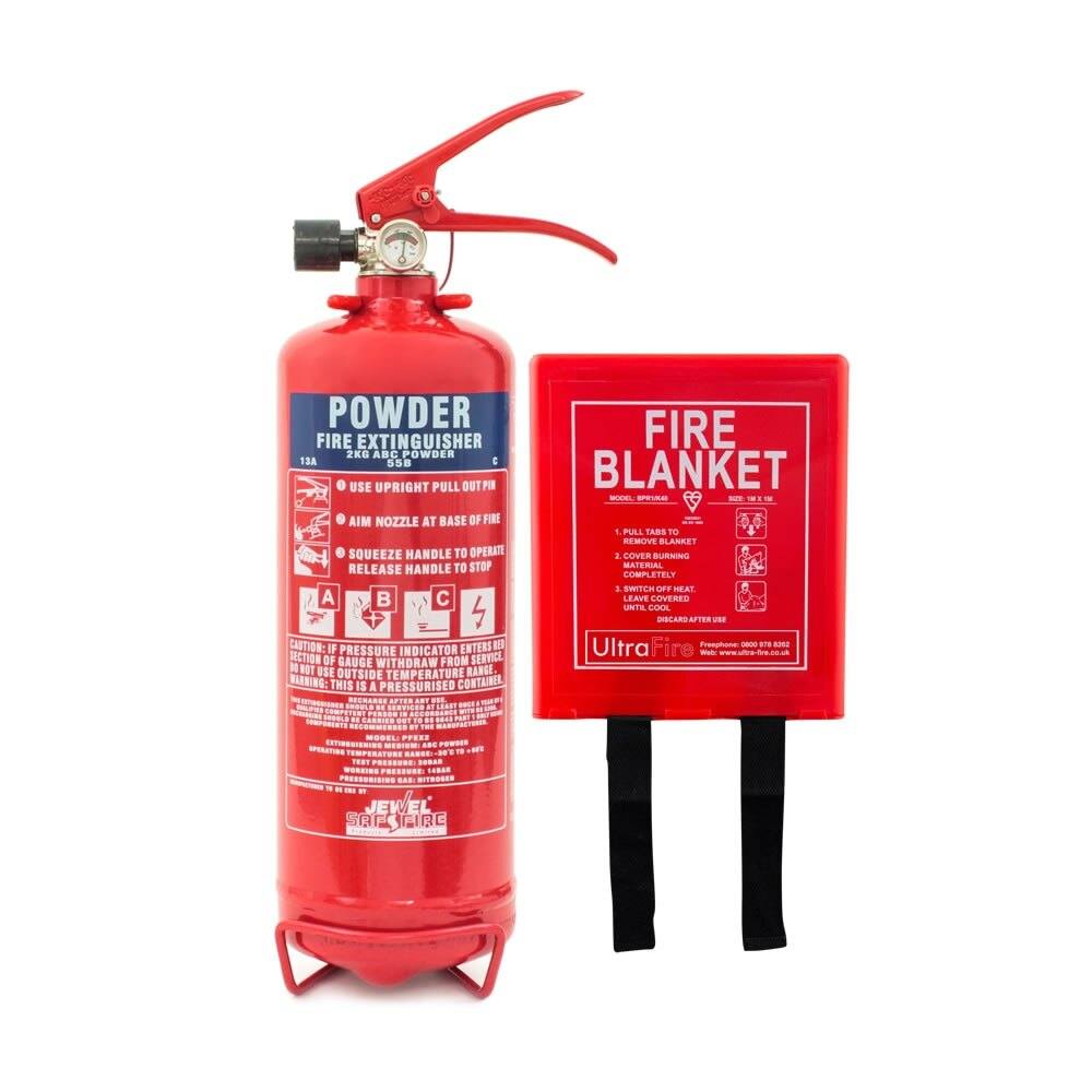 2kg Powder Fire Extinguisher + Fire Blanket Offer