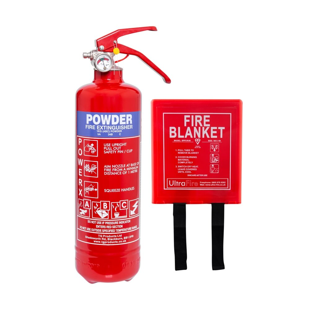 1kg Powder Fire Extinguisher and Fire Blanket Offer