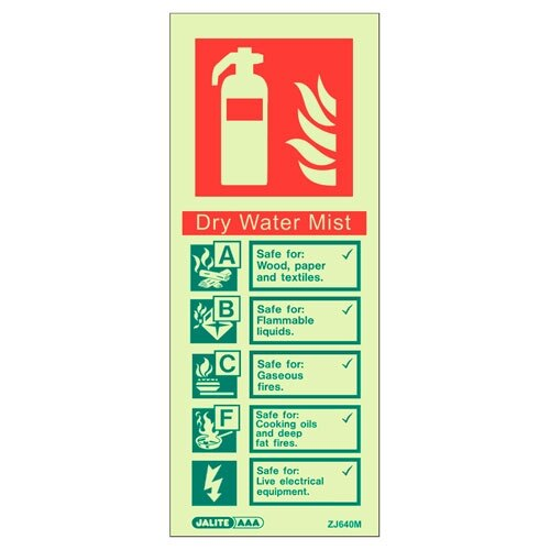 Water Mist Fire Extinguisher Wall Sign
