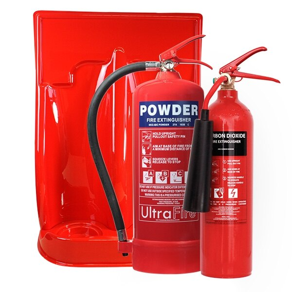 2kg CO2 Extinguisher, 6kg Powder Extinguisher + Double Stand Special Offer