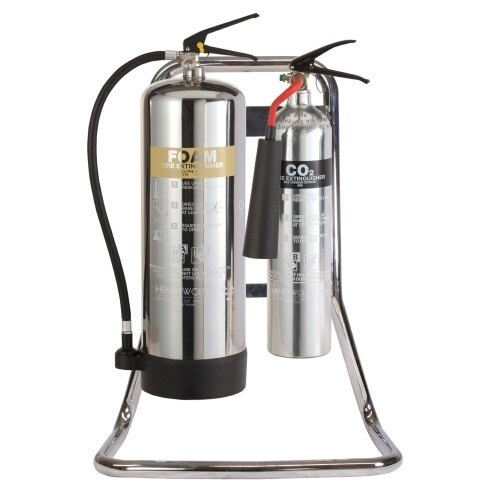 Double Metal Fire Extinguisher Stand in Chrome - UltraFire