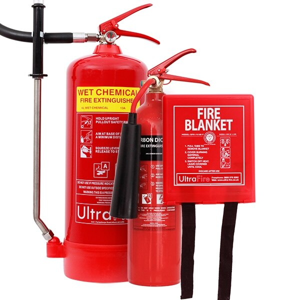 2kg CO2 Extinguisher, 6ltr Wet Chemical Extinguisher + Fire Blanket Special Offer